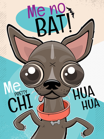 funny chihuahua dog cartoon illustration