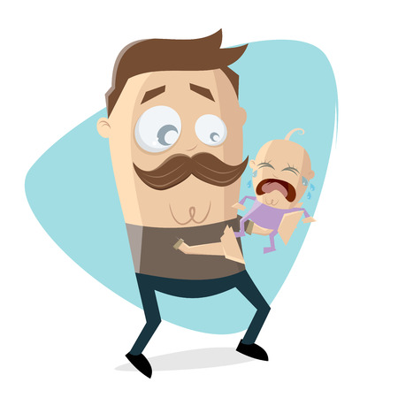 worried father with crying baby Illustration