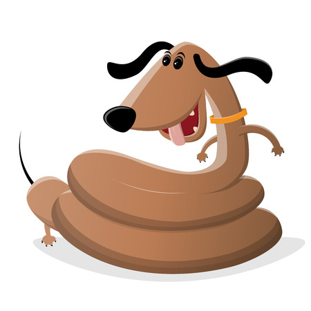funny cartoon illustration of a dachshund snake