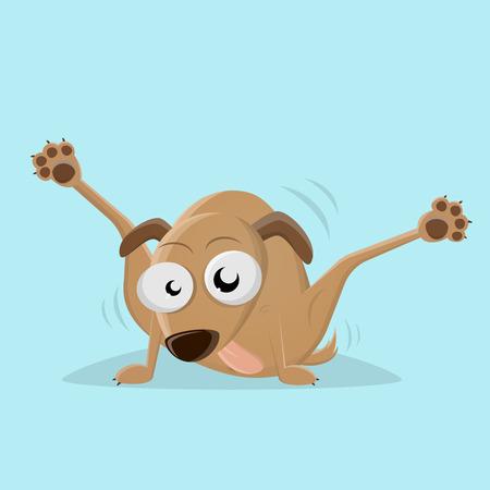 grappige cartoonhond die zijn rug likt Vector Illustratie