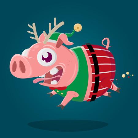 funny cartoon illustration of a cute pig in christmas elf costume Archivio Fotografico - 113330299