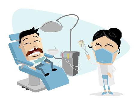funny cartoon man at the dentist Stock Illustratie