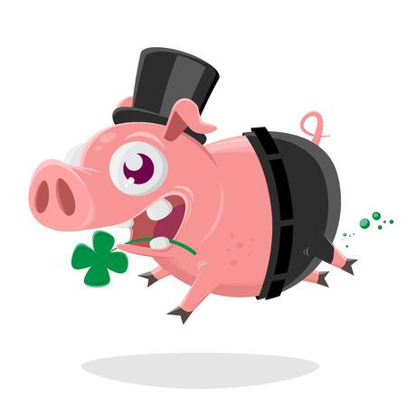verrücktes Schwein im Schornsteinfegerkostüm
