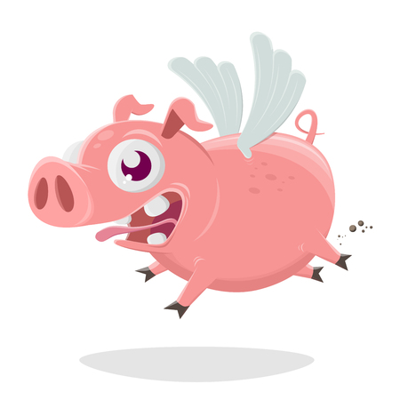 funny cartoon illustration of a flying pig