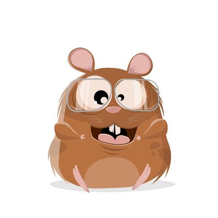 illustration drôle de bande dessinée d'un hamster avec des lunettes Vecteurs