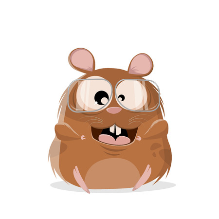 funny cartoon illustration of a hamster with glasses