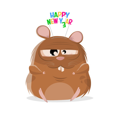 funny cartoon illustration of a happy new year hamster Illustration