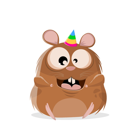 funny cartoon illustration of a happy hamster party