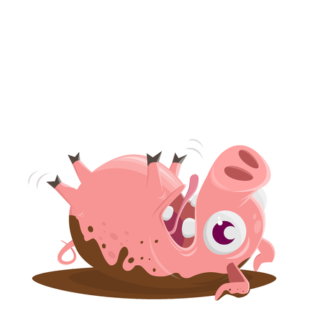 funny pig rolling in the mud