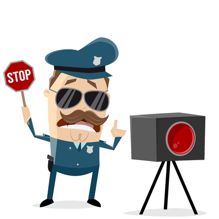 funny policeman with radar trap Illustration