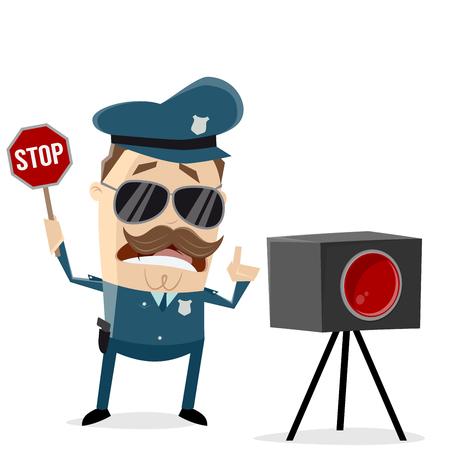 policía divertido con trampa de radar Ilustración de vector