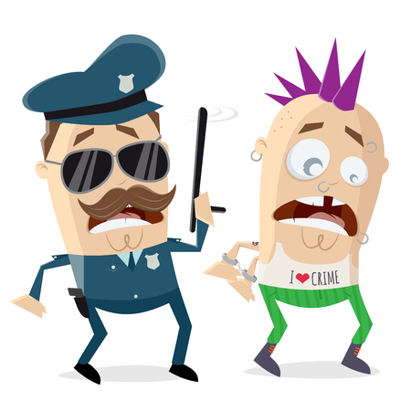 funny cartoon cop arresting a criminal