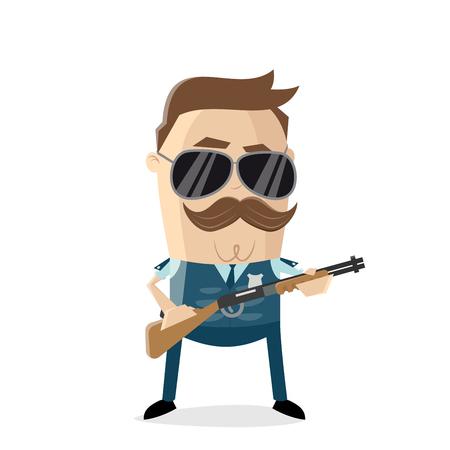 divertente cartone animato poliziotto giubbotto antiproiettile e fucile da caccia