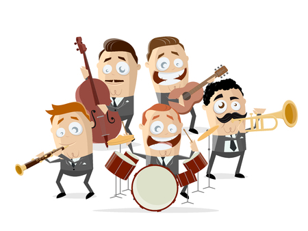 funny cartoon illustration of a music band