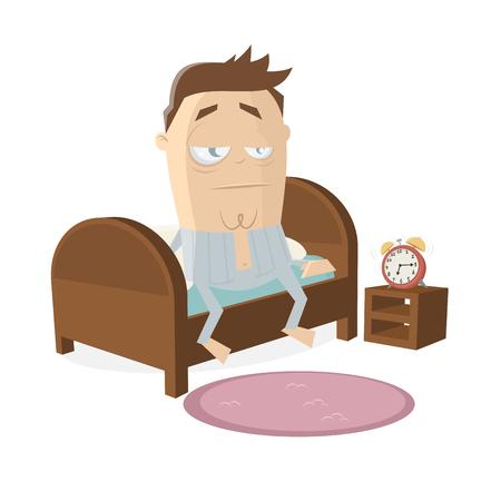 hombre cansado de dibujos animados levantándose de la cama Ilustración de vector