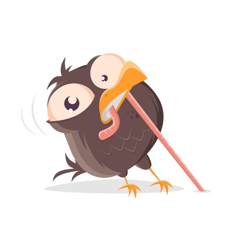 lustiger Comic-Vogel, der einen Wurm zieht