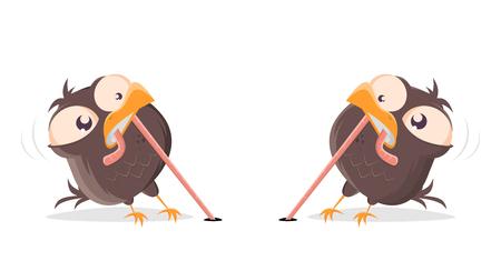 lustige Comic-Vögel, die um einen Wurm kämpfen