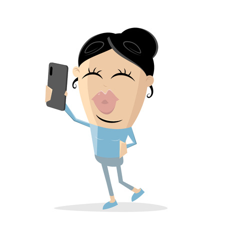 funny asian cartoon girl taking a selfie Illustration