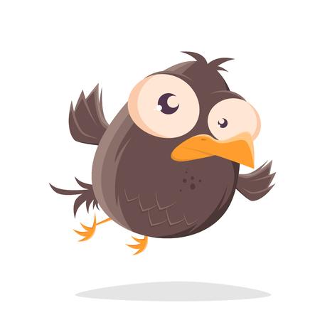 funny flying cartoon bird illustration 向量圖像
