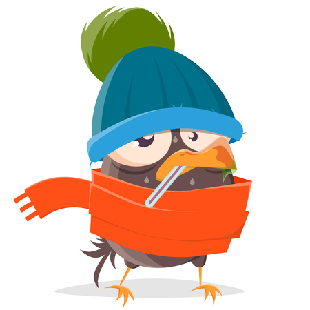 funny cartoon bird is sick Illusztráció