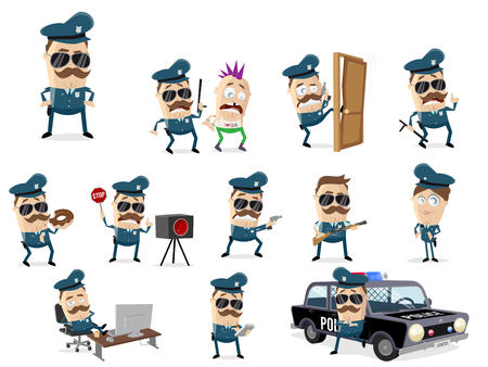 funny cartoon cop collection with various scenes Illustration