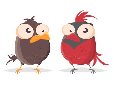 oiseau drôle de bande dessinée regardant l'oiseau cardinal rouge