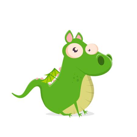 funny vector illustration of a sitting green cartoon dragon