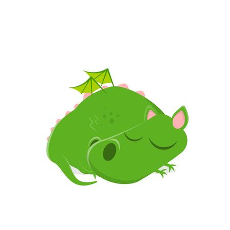 funny vector illustration of a sleeping green cartoon dragon Illustration
