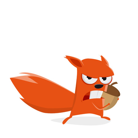 angry cartoon squirrel protecting a nut Banque d'images - 119597391