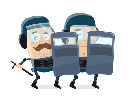 funny cartoon illustration of police officers in protection clothes Illustration