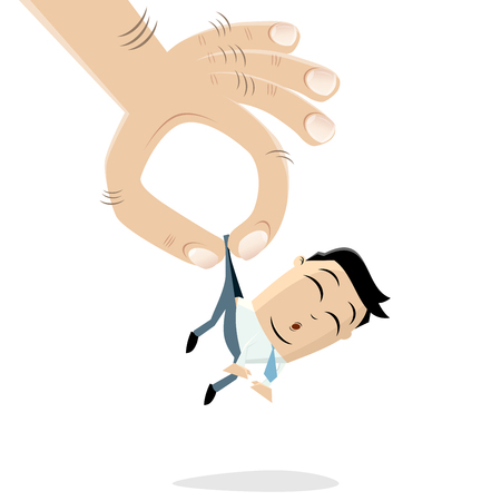 funny asian businessman picked up by a giant hand Ilustrace