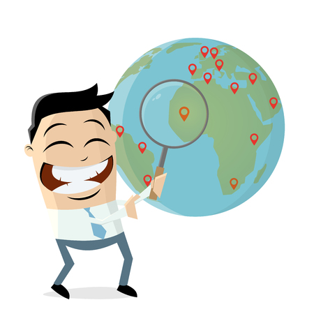 funny asian businessman with pins and globe