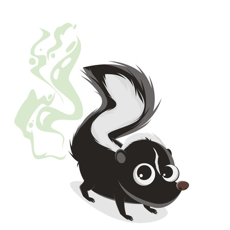 funny cartoon illustration of a smelly skunk