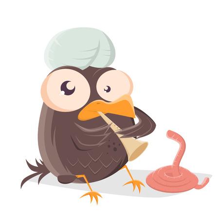 l'oiseau drôle de bande dessinée est un charmeur de serpent