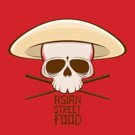 asian street food skull with has and chopsticks
