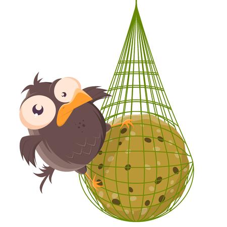 funny cartoon illustration of a dumpling male on a titmouse Stock Illustratie