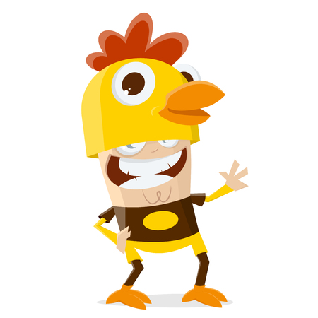 Funny cartoon illustration of a man in a chicken costume Stock Illustratie