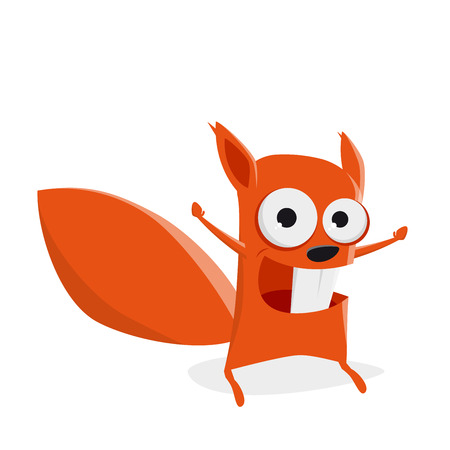Funny cartoon squirrel is feeling powerful