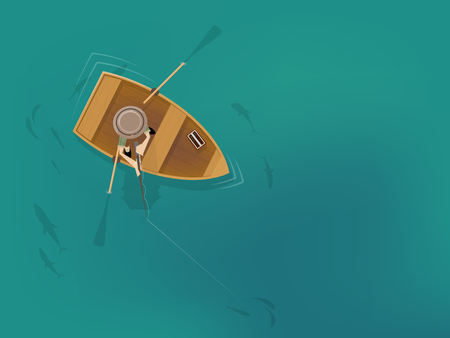 Cartoon man in a fishing boat from a birds eye view