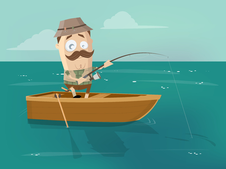Cartoon man in fishing boat 向量圖像