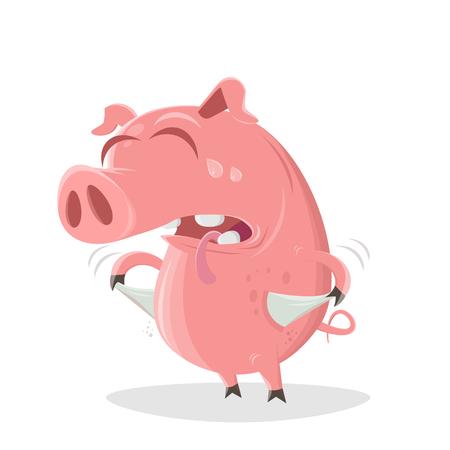 Funny illustration of a poor cartoon pig Stockfoto - 123533118
