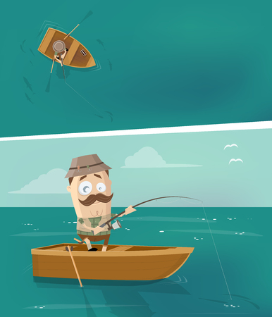 Cartoon man in fishing boat in different perspectives