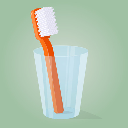 Cartoon illustration of a toothbrush in a glass Stock Illustratie