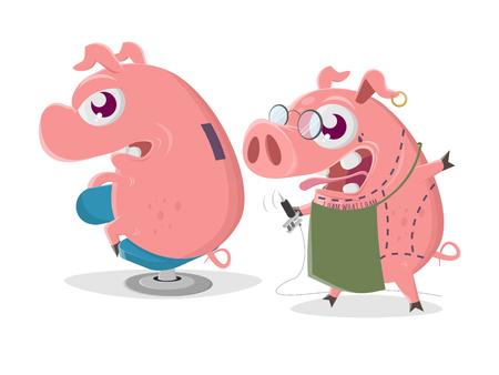 Crazy cartoon pig is getting a piggy bank tattoo Stockfoto - 123337260