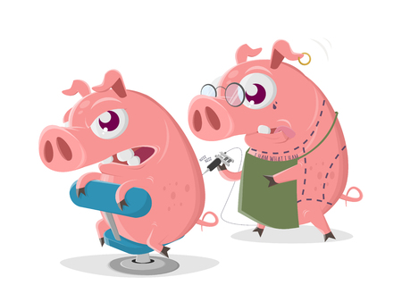 Crazy cartoon pig is getting a tattoo Stock Vector - 123337274