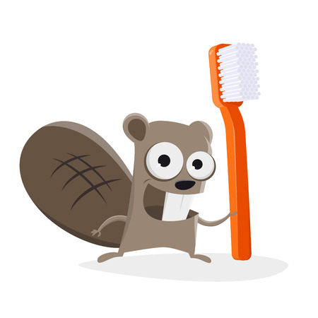 Funny illustration of a cartoon beaver with a toothbrush Stockfoto - 123337279