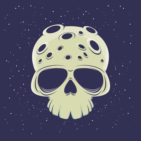 Cartoon illustration of a creepy skull moon Stock Illustratie