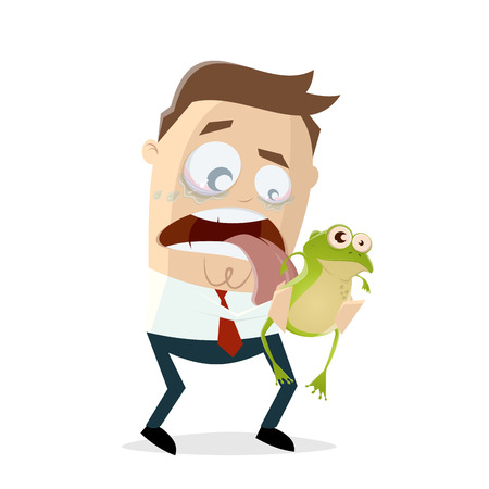 Funny cartoon businessman is licking a frog
