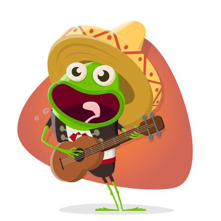 Funny cartoon frog as mexican mariachi