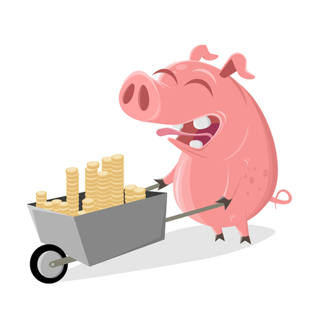 Funny cartoon pig with money pushcart Stock Illustratie